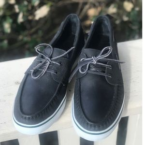 Mens Bass Boat Shoes  Black Leather Excellent